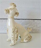 West Pac Poodle Figurine Westpac Dog White Fringe Japan Vintage Gold Trim