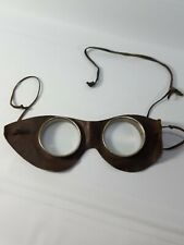 Vintage Steampunk Auto Glasses Goggles Antique Motorcycle Aviator Leather Round
