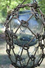 Authentic Used Commercially Glass Fishing Float Double Binary / webbing,- Ja-4