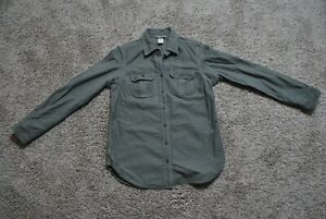 Duluth Trading Company Size XS Olive Long Sleeve Button Front 100% Cotton