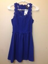 H&M DIVIDED - ROYAL BLUE EMBROIDERY SLEEVELESS DRESS - 4