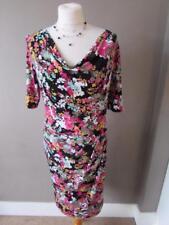 KALIKO Ladies Black Pink Green Floral Cowl Neck Dress Fully Lined Size 10 VGC