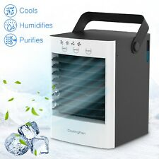 Indoor Compact Quiet Table Top Box Desk Fan Water Cooling Oscillation Humidifier
