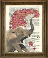 ELEPHANT ART PRINT: Pink Flowers Vintage Dictionary Print
