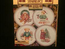 Set of 4 Debbie Mumm 1998 Christmas Bears Salad / Dessert Plates in Box