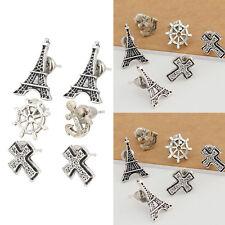 6pcs Fashion Women Classic Tower Cross Anchor Rudder Ear Studs Earrings Jewelry