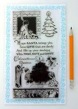 """Clear Stamps Lot (4""""x7"""") Christmas Wait Santa FLONZ Vintage 278 Rubber Acrylic"""