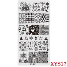 Placas Para Uñas Stamping Placa de imagen árboles de Navidad Copos de nieve renos XYS17