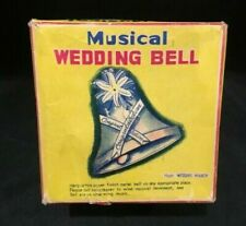 Vintage 1960's Musical Wedding Bell Pull String Box Japan - New In Box Works!