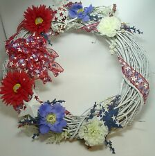 "Red White Blue Grapevine White Wreath Stars Flowers Ribbon 20"" Patriotic July 4"