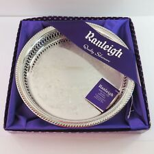 Vintage Ranleigh Silverplate Round Drinks/Food Serving Tray, Ornate Floral, Box