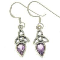 Celtic Trinity Knot Silver Earrings, set w Amethyst Stone, Solid Sterling Silver