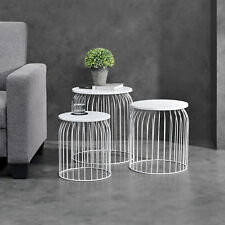 [en.casa]® Set of 3 Metal Basket Side Table Wire Base Coffee Table Nesting White