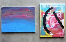 2x ORIGINAL OIL PAINTING Canvas Wall Hanging Retro Abstract Art Poster Picture