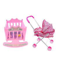 Baby Doll with Stroller Buggy and Baby Bed Cradle Girls Toy Foldable Pink
