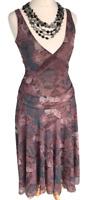 JIGSAW Lilac Summer Dress Sz XS / UK 6 - 8 Stretchy Midi / b39