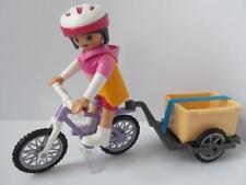 Playmobil DOLLSHOUSE/ville/Holiday: LADY figure, vélo et remorque NEUF