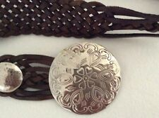 Aimee Lynn Concho Belt X-Large Braided Leather Hammered Silver Buckle
