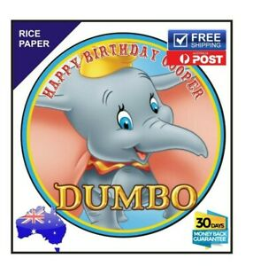 DUMBO PERSONALISED Edible Rice Paper Image birthday party cake topper round 19cm