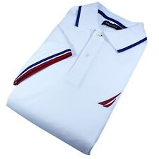 Nautica Polo Men's White Main Red And Blue Stripes | Select Your Size |  NWT