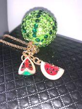 Betsey Johnson Necklace Watermelon Red Crystal Gift  Box Organza Bag TkLk
