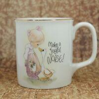 Precious Moments Make a Joyful Noise Coffee Mug Cup Girl Goose 1980