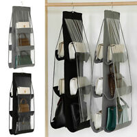 6-Pocket Clear Hanging Purse Handbag Tote Bag Storage Organizers Closet Rack Bag
