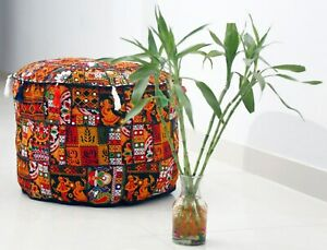 Vintage Embroidered Ottoman Pouffe Cover Handmade Mandala Patchwork Pouf Cases