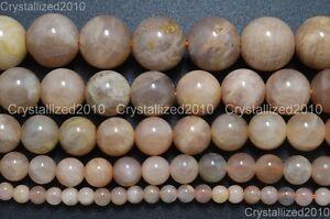"Natural Sunstone Gemstone Round Loose Beads 6mm 8mm 10mm 12mm 14mm 16mm 15.5"""