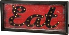 """NEW!~LED Wood Box Light Up Sign  """"EAT""""  Picture  6 Hour Timer  Kitchen Decor"""