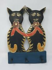 Indonesian / Balinese Handcrafted Wooden Cat Key / Coat Rack
