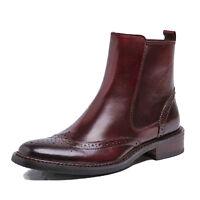 Fulinken 2 Color Genuine Zip Leather Mens Formal Wingtip Dress Ankle Boots Shoes