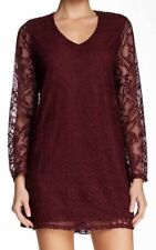 NWT BEBOP BURGUNDY LACE A-LINE MINI DRESS W/ UNLINED LACE BELL SLEEVES Sz XL