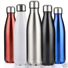 Cola Shape Vacuum Insulated Vacuum Flask Stainless Steel Water Thermos (Black)