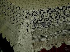 """Hand Made CROCHET Tablecloth   54"""" x 54"""" Ecru"""