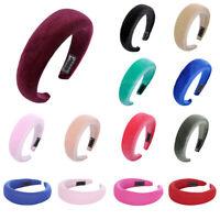 Women's Velvet Headband Hairband Padded Wide Hair Hoop Accessories Headpiece NEW