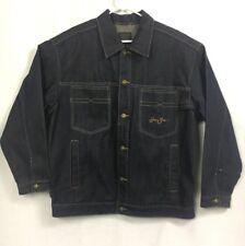 Sean John mens denim jacket size Large dark blue 100% Cotton 4 pocket button
