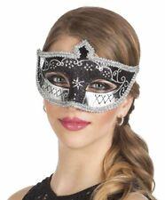 Womens Black Glitter Venice Venetian Eye Mask Masquerade Ball Fancy Dress