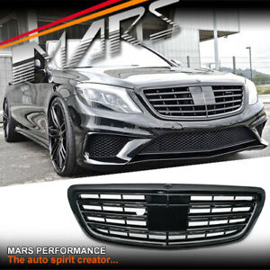 Black AMG S63 Style Bumper Bar Grill Grille for Mercedes-Benz W222 S-Class 13-20