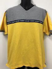 Vintage SIZE XL TOMMY HILFIGER Jeans Shirt POLO Yellow 100% Cotton Mens