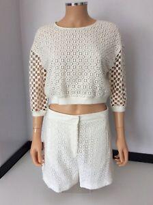 Tibi NEW Rrp £575 outfit Set White Shorts Size Uk 12 & Jumper Size S