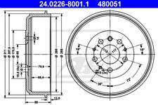2x Bremstrommel für Bremsanlage Hinterachse ATE 24.0226-8001.1