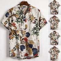 INCERUN Hommes Chemise à manches courtes Vintage Ethnique Chemises décontractées