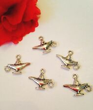 6 MAGIC LAMP charms Vintage Silver Tone Aladdin Genie Wish 3D