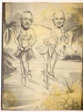 Funny Hula Girls Skirt Lei Necklace Men In Vintage 1940s Arcade/Photobooth Photo