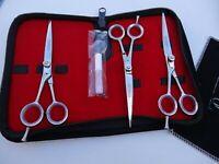 "Left Hand_3 x 6"" Pet Grooming Scissors,Up & Downward Curved dog_Japanese Steel"