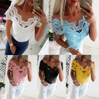 New Women Sexy Off Shoulder Lace Hollow Tops Summer Casual Loose T shirt Blouse