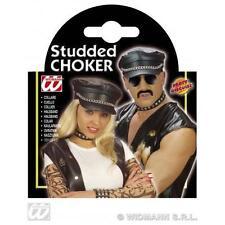 Studded Choker Leather Look Biker Hells Angel Halloween Fancy Dress Accessory