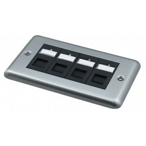 Brush Steel Faceplate Doublegang loaded with 4 x Cat6 Black Euro Module