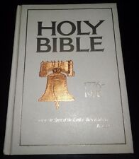 Big Vintage Bicentennial King James Holy Bible Words of Christ in Red Gold Page
